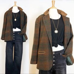 Vintage Oversized Plaid Wool Blazer • sz 12